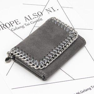 Plush Wallet With Chain Detail, Gray